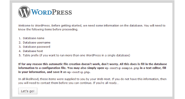 WordPress Installation Stage 1